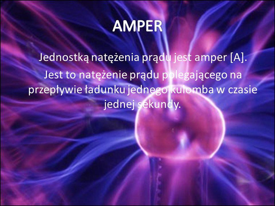 AMPER Jednostką natężenia prądu jest amper [A].